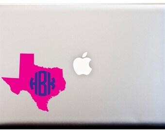 LAPTOP DECAL // Texas State Monogram Decal Southern Pride Circle Monogram