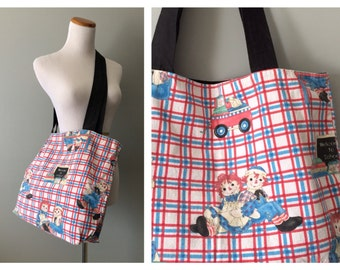Large Vintage Tote Bag Printed Raggedy Ann and Andy Rag Doll Handbag Cotton Grocery Tote Handmade Reusable Plaid Fabric Shoulder Diaper Bag