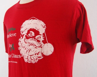 80s Screen Stars I Believe in Santa Claus Colorado Vintage T Shirt Large