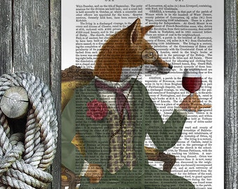 Woodland Animal Print - Wine Tasting Fox, Portrait giclee poster wine lover gift wine print fox wall art fox print home decor