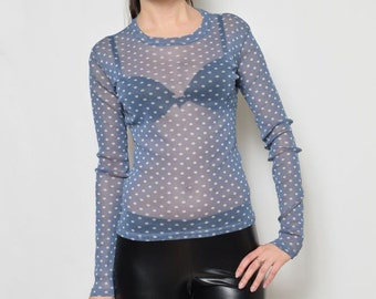 Vintage 90's Blue Polka Dot Mesh Sheer Long Sleeves Blouse