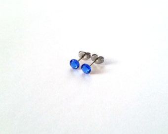 Tiny Studs Sapphire Blue 4.8mm Swarovski Crystal Surgical Steel Hypoallergenic Studs Posts Earrings Jewelry - Free Gift Box