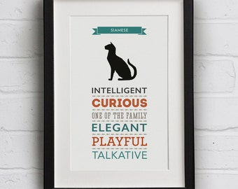 Siamese Cat Breed Traits Print - Great Gift for Siamese Cat Lovers