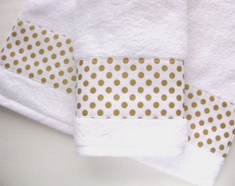 Gold and White Towels,  hand towels, bath towels, custom towels, gold, gold polka dots, gold bathroom, white towel, custom towels, august