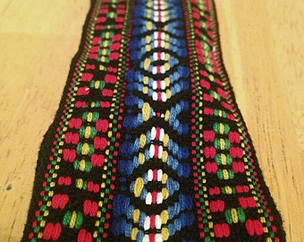 southwest navajo print headband ; one of a kind ; elastic back and woven fabric