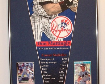 Vintage NY Yankees Don Mattingly Player Pennant & Cards...Custom Framed!!!!