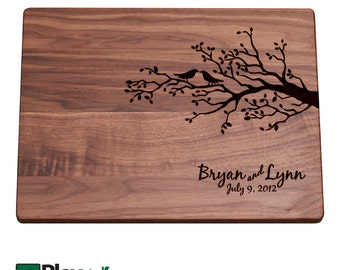 Personalized Engraved Cutting Board with Tree & Bird Design, Personalized Wedding Gift, Custom Cutting Board