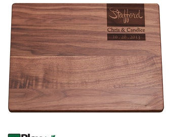 Personalized Engraved Cutting Board with Couples Name Design, Personalized Wedding Gift, Custom Cutting Board