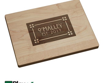 Personalized Engraved Cutting Board with Craftsman Design, Personalized Family Gift, Custom Cutting Board, Wedding Gift, Mothers Day Gift