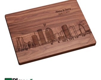 Houston TX Skyline Personalized Engraved Cutting Board| Personalized Wedding Gifts,Custom Cutting Board,Wedding Gift, Housewarming Gift