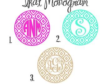 Ikat Monogram Decal, Personalized Monogram decal, Ikat Decal, Ikat Vinyl Decal