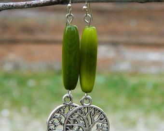 Green Tagua nut and tree charm earrings