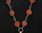Tibetan prayer wheel necklace carnelian bead necklace, wire wrapped mala/necklace