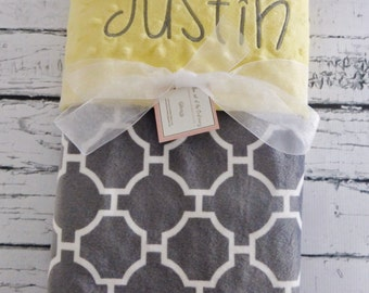 Personalized Yellow and gray minky baby blanket