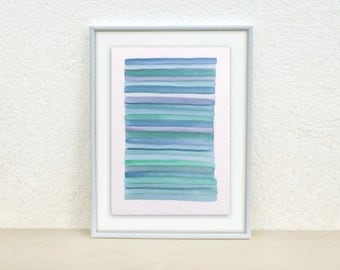 Abstract turquoise stripes painting. Nursery art. Stripes watercolor. Blue painting. Original Watercolor Painting. Baby nursery decor.