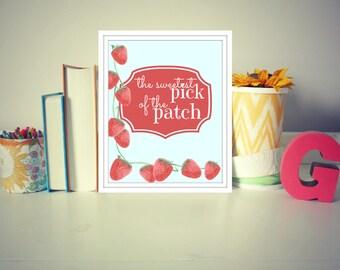 Strawberry nursery print, girl nursery print, 8x10 nursery print, girl nursery art, girl's room print,