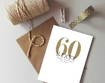 60th Birthday card - Happy 60th Birthday - Sixty card - Age birthday card - 60 today card - milestone age card