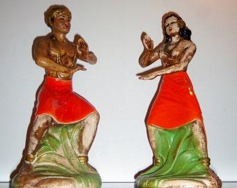 """16"""" Vintage 1950s Hawaiian / Polynesian Tribal Dancing figurines"""