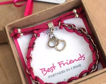 Handcuff bracelet, Best Friends Bracelet, Partners in Crime Bracelet, Pink Friendship Bracelet, BFF Bracelet, BFF Jewelry, Best Friends Gift