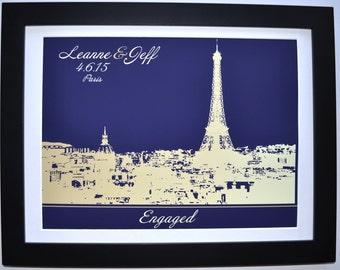 1 Paris skyline, paris engagement gift, eiffel tower france, personalized engagement gift, paris france skyline, bridal shower gift