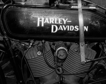 Harley Davidson art photo print, black and white picture, motorcycle gift, large paper canvas photography wall decor 8x10, 11x14 up to 32x48