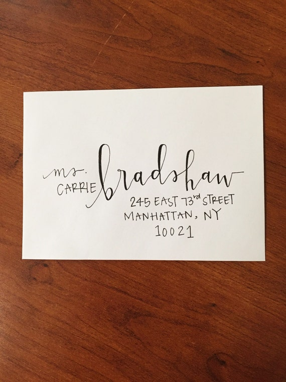 Custom modern calligraphy envelope addressing by of doodles
