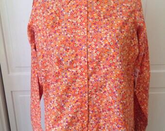 NWT Wrancher by Wrangler Orange Calico cotton blouse