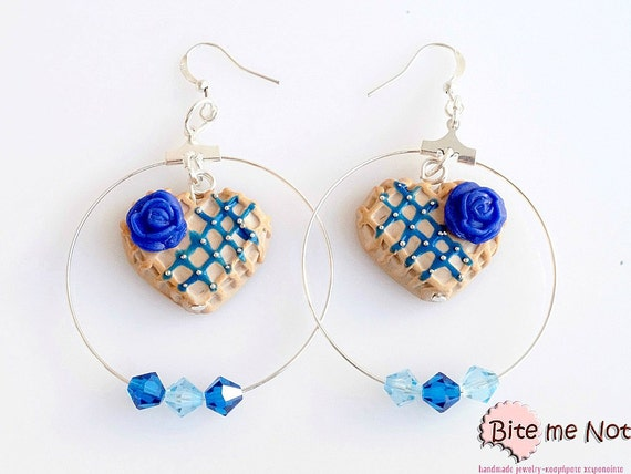 Polymer Clay Jewelry Blue Rose Waffles Hoops, Hoop earrings, Mini Food, Handmade Earrings, Polymer Clay Sweets,Miniature Food,Kawaii Jewelry