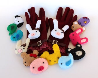 Ruby Red Laced Lady Gloves - with Animal Plushies - use on any smartphone/ touchscreen device