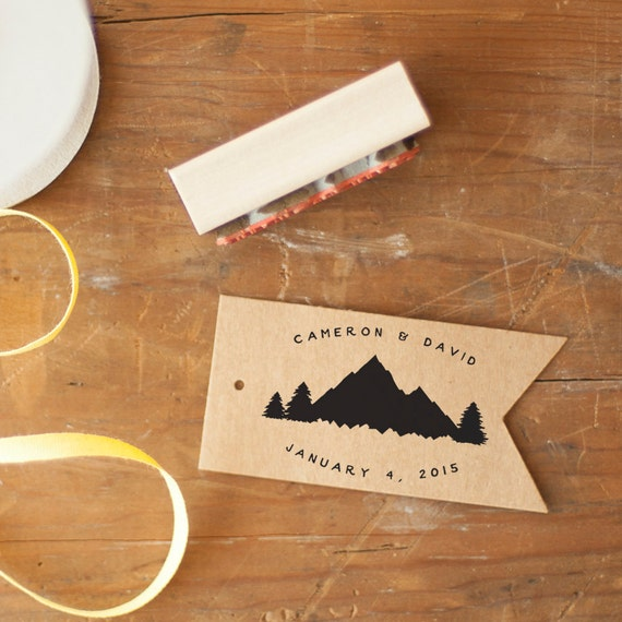 Wedding Monogram Stamp - rubber stamp, mountain stamp, wedding stamp, favor stamp, custom stamp, wedding logo, woodland wedding tree stamp