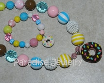 DONUT Party Chunky Bubblegum Bead Necklace & Bracelet Set, Birthday, Photo Prop