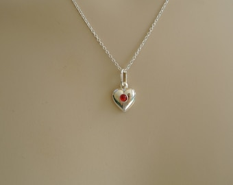 Valentine Necklace // Sterling Silver heart necklace // gemstone heart // girlfriend gift // heart necklace