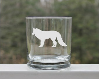 etched whiskey glass, Etched Rock glass wildlife, engraved, scotch glass,  Rock Glasses, Bear, Moose, Fox, etched,  3 styles, Wildlife