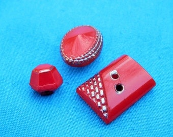 SET  Red Silver Art Deco Vintage Button Lot