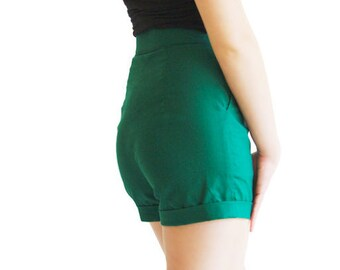 Green Elegant Shorts || Cotton Shorts || Green Summer Shorts