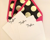 Personalized Stationery Flat Note Card Set with Gold and Black Polka Dot Lined Envelopes