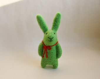 Felted Animal, Needle Felted Bunny, Needle Felted Brooch, Spring Green Bunny Brooch, Bunny Pin, Felted Miniature