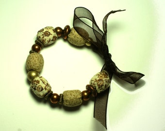 Fabric bead bracelet, chunky fabric bracelet with ribbon tie, natural tones bead bracelet