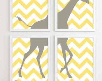 Yellow Gray Nursery - Giraffe Chevron Nursery Wall Art Print - Giraffe Safari Wall Art Jungle Nursery - Children Kid Room - Home Decor