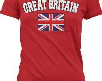 Great Britain Flag Ladies T-shirt, British Flag, Flag of Great Britain, Union Jack, Junior and Women's Britain T-shirts GH_00411