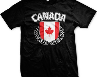 Canadian Flag Crest With Olive Branches Men's T-shirt, Canada Flag Shield, Canadian Pride, Canada Flag, Men's Canada T-shirts GH_00206_tee