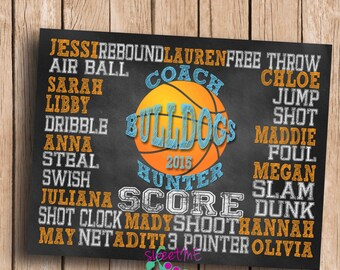 Customized Basketball coach gift, DIGITAL IMAGE, personalized basketball gift, basketball subway art, coach art, coach print, chalkboard art