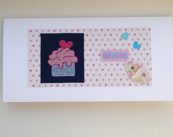 Cupcake with heart cross stitch original handmade card with the wording 'so cute'