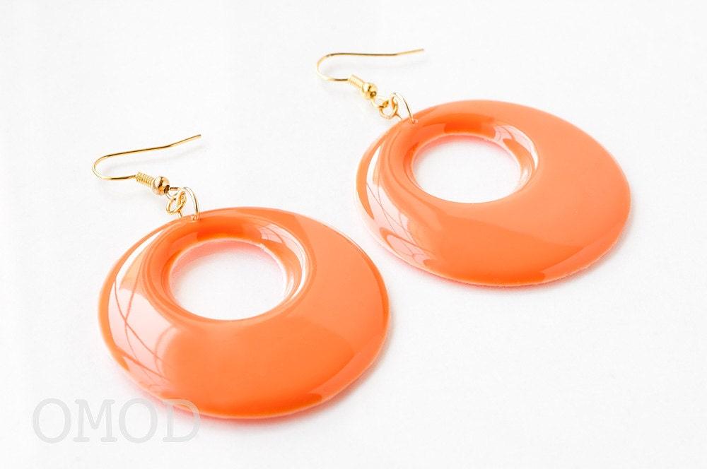 mod earrings 60s hoop earrings orange earrings vintage by omod