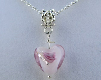 Purple and White Lampwork Heart Charm Necklace 16in  (N155)