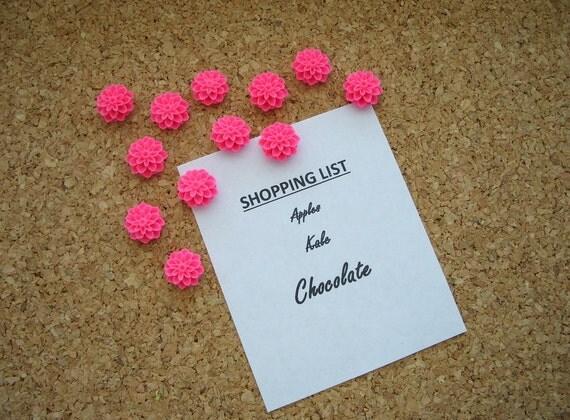 Pretty flower thumbtacks hot pink set of twelve by for Pretty bulletin board