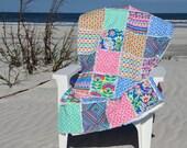 Rag Quilt, Lap Quilt, CouchThrow, Colorful Springtime Handmade Quilt