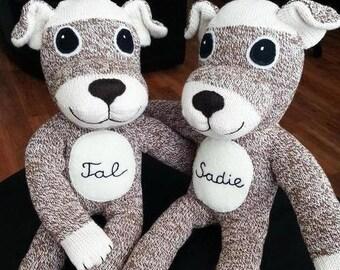 Stuffed dog toy sock monkey brown puppy Rockford Red Heel baby shower gift stuffed animal baby friendly  OOAK gift 100% hand-sewn