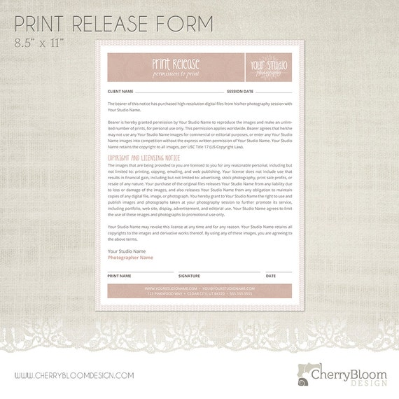 print release form template for photographers photographer. Black Bedroom Furniture Sets. Home Design Ideas
