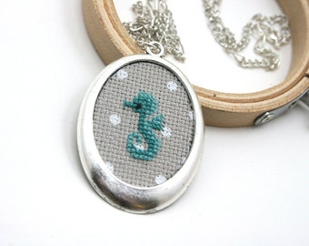 Seahorse necklace Cross stitch necklace Embroidry necklace Aquatic animal Animal jewelry Animal necklace Seahorse jewelry Hippocampus Ocean